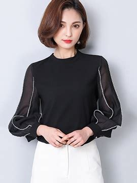 Puff Shoulder See Through Blouse tops cheap fashion tops tidebuy