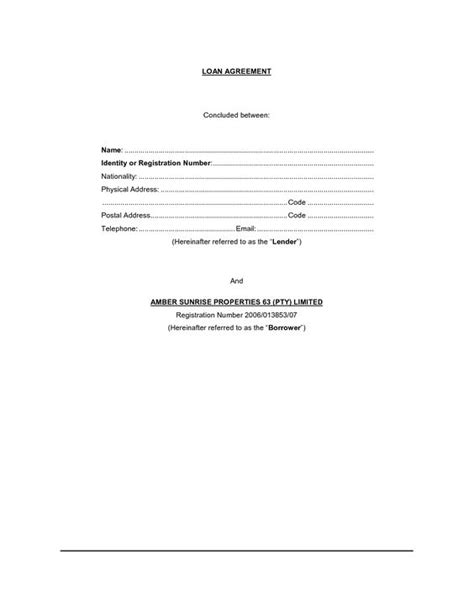 loan agreement template free simple loan contract