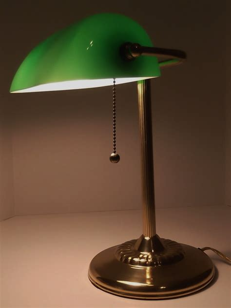vintage desk l with green glass shade vintage bankers l desk l green glass shade