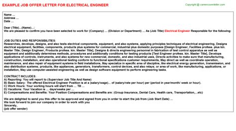 Offer Letter Sle For Engineer Electrical Engineer Title