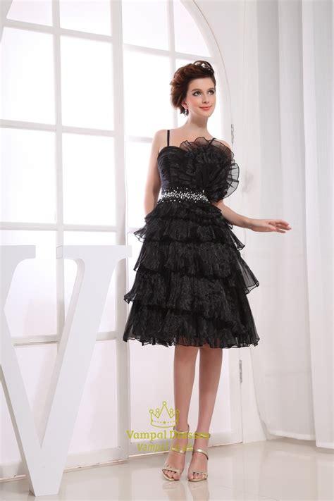 Tiered Spaghetti Dress black spaghetti cocktail dress tiered prom