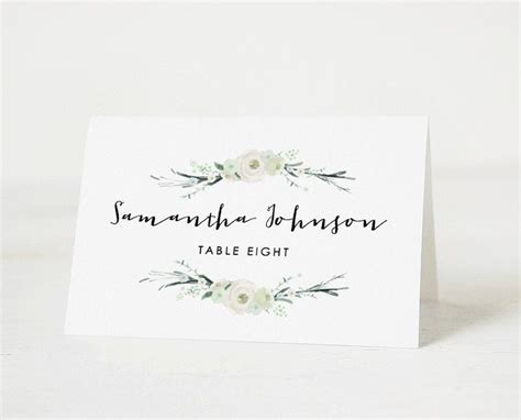 wedding name card template free printable place card template wedding place card name