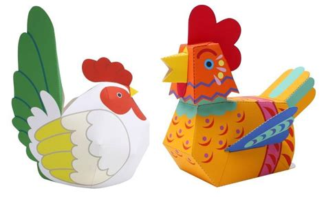 Chicken Papercraft - papermau chicken and rooster paper toys by ayumu saito