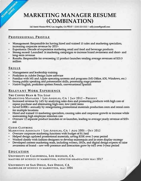 marketing manager resume combination resume sles resume companion