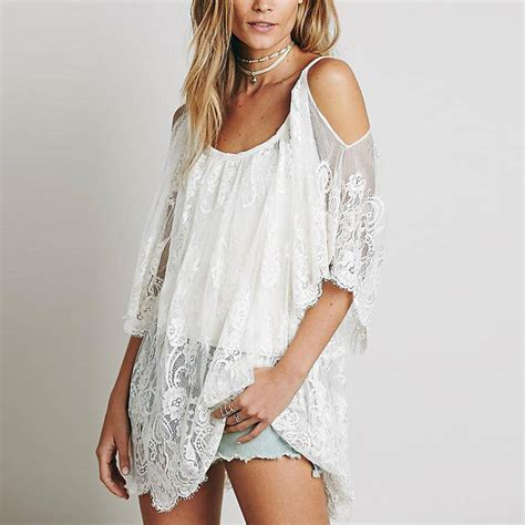 sheer patterned white dresses hippie women beach dress sexy strap sheer floral lace
