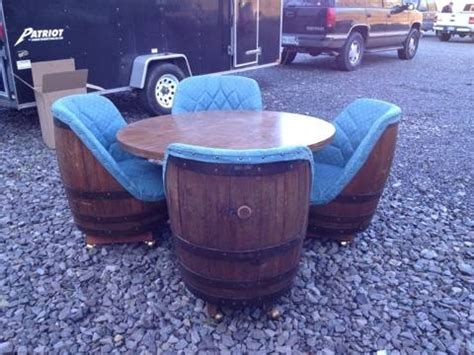 whiskey barrel chairs for sale vintage 1970 s whiskey barrel chairs and table pub retro