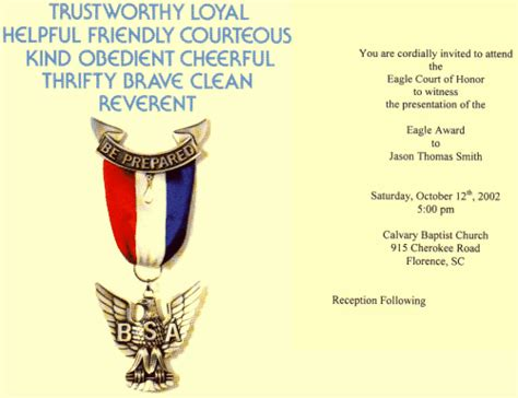 eagle scout invitation template pin eagle scout ceremony printable invitations home bsa 13