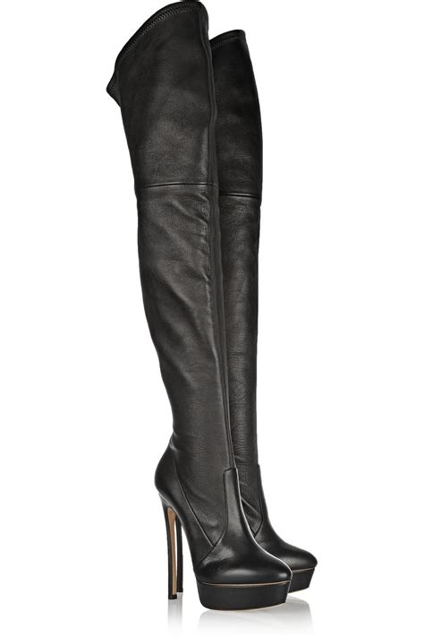 the knee black boots lyst casadei stretch leather the knee boots in black
