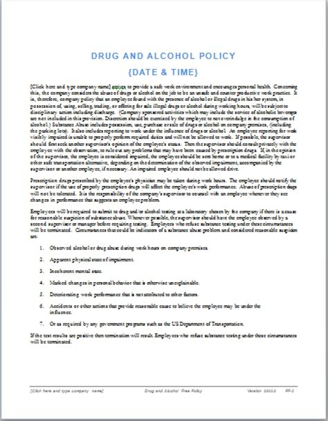 Drug And Alcohol Policy Template Ms Office Guru Free Workplace Policy Template