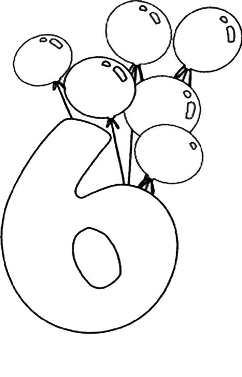 6 Coloring Page by Number 6 Coloring Page
