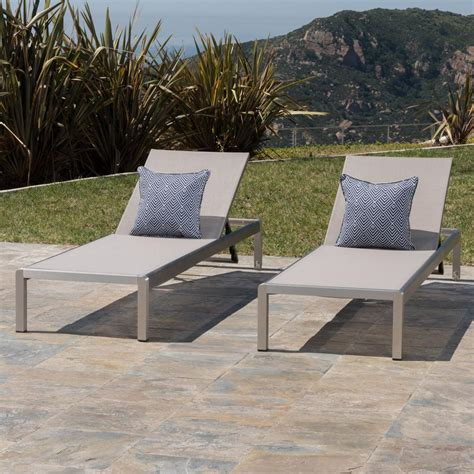 chaise chairs outdoor noble house cape coral silver 2 metal outdoor chaise