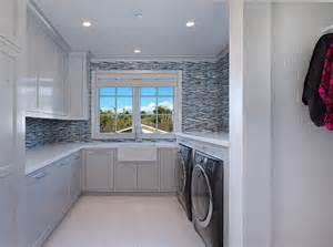 blue gray backsplash blue mosaic glass tiles contemporary laundry room