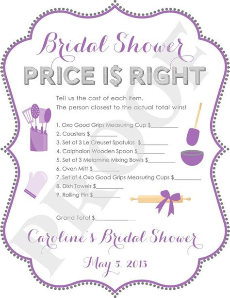 printable price is right bridal shower game bridal shower game bridal shower bachelorette pinterest