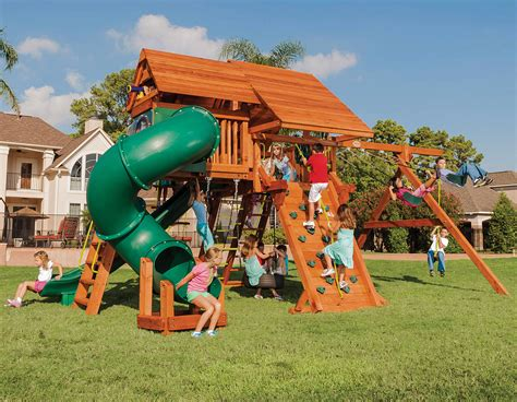 tree frogs swing set 6 5 texan playcenter config 5 with wood roofs swing set
