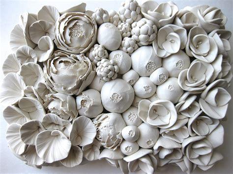 Ceramic Wall Murals polymer flower sculptures and tiles by angela schwer