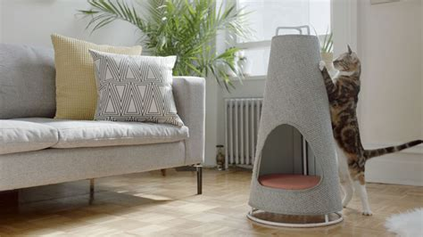 modern scratching post this cone shaped object is both a scratching post and a cat bed contemporist