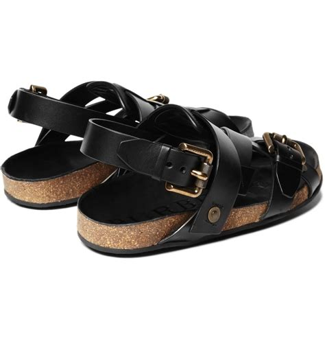 burberry sandals burberry prorsum buckle sandals in black for lyst