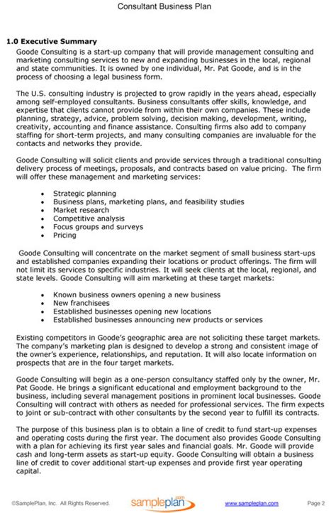 business plan executive summary template consulting business plan executive summary