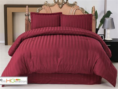 burgundy bedding sets 4 pc elegant classic damask stripe comforter set burgundy