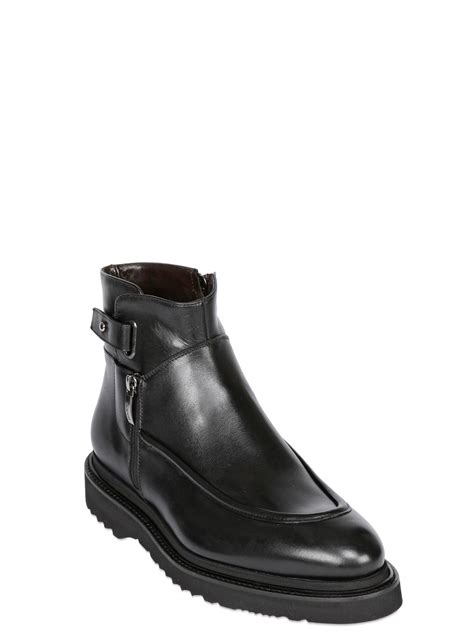 cesare paciotti boots cesare paciotti zipped leather boot in black for lyst