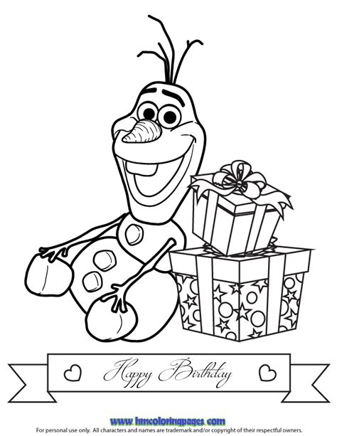 happy birthday olaf coloring page free coloring pages of olaf