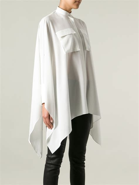 Blouse Asymmetric mcqueen asymmetric blouse in white lyst