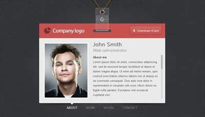 design vcard online 7 html css personal website templates free download