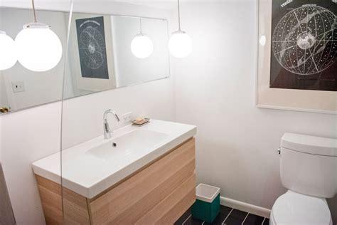 Modern Powder Room Vanity by Modern Powder Room With Slate Tile Floors Powder Room In