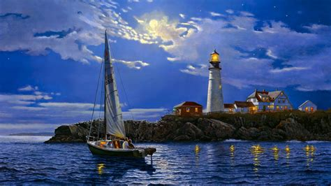 house light paintaings sailing boats architecture