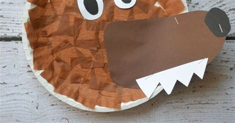 Wolf Paper Plate Craft - paper plate wolf kid craft hoods and wolf
