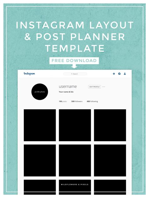 Instagram Layout Post Planner Template Instagram Template