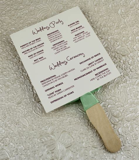 Wedding Fan Program Template wedding program paddle fan template matelasse design
