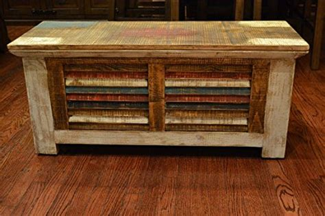 Distressed Wood Trunk Coffee Table Crafters And Weavers Rustic Distressed Reclaimed Solid