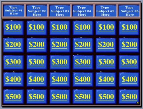 jeopardy powerpoint template 6 categories do you want free esl jeopardy esladventure
