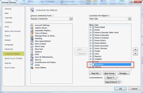 design this form outlook 2013 enable developer ribbon in outlook 2010