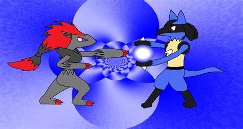 Metal Pin Zoroark zoroark vs lucario by enricthepenguin92 on deviantart