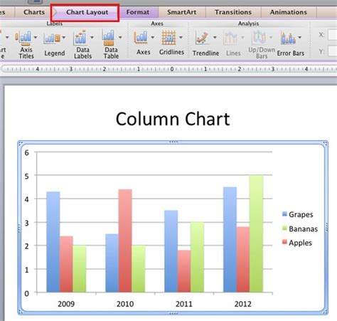 layout tab on excel mac axis titles in powerpoint 2011 for mac