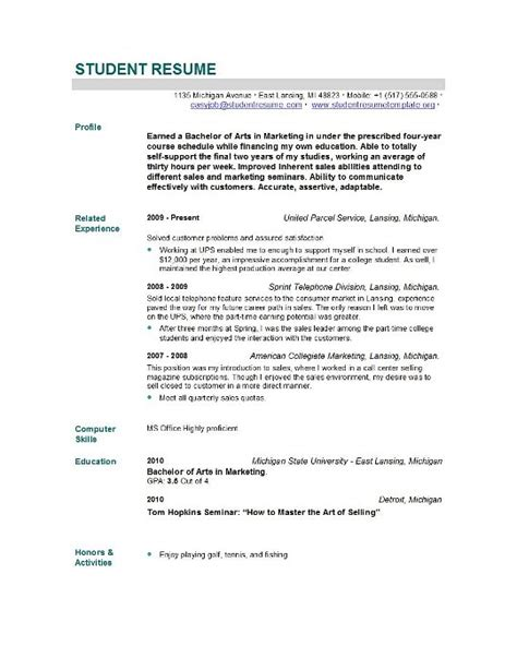 Resume Sles For It Graduates Student Resume Templates Student Resume Template Easyjob