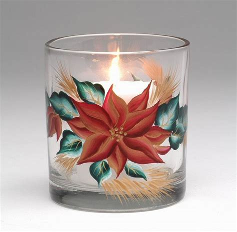 Candle Accessories Glass Poinsettia Glass Votive Candle Holder Set Of 4 Candle