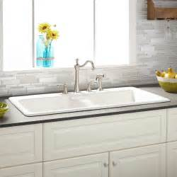White Drop In Kitchen Sink 43 Quot Selkirk White Bowl Cast Iron Drop In Kitchen Sink Kitchen Sinks Kitchen