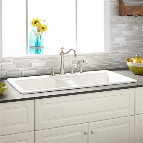 White Kitchen Sink 43 Quot Selkirk White Bowl Cast Iron Drop In Kitchen Sink Kitchen