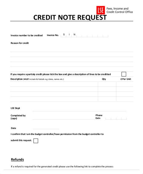 Credit Note Requisition Format 7 credit note templates free sle exle format
