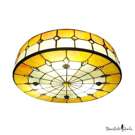 Shade 16 Inch Yellow Stained Glass 3 Light