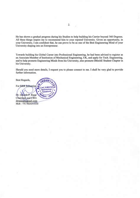 Industrial Recommendation Letter Industrial Letter Of Recommendation
