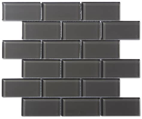 Home Depot Backsplash Kitchen charcoal gray glass 2x4 mosaic subway tile