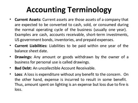 Basic Financial Terms For Mba by Accounting Terminology