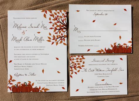 Wedding Invitations Fall Theme by Orange Fall Pumpkin And Falling Leaf Wedding Invitations