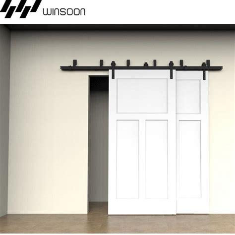 Winsoon Metal Sliding Bypass Barn Door Hardware Kit System Bypass Barn Door Hardware System