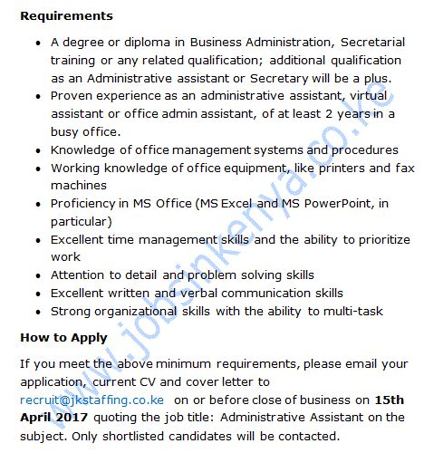 Salary For An Executive Assistant by Administrative Assistant In Kenya Salary Ksh 65 000 A Collection Of In Kenya 2018
