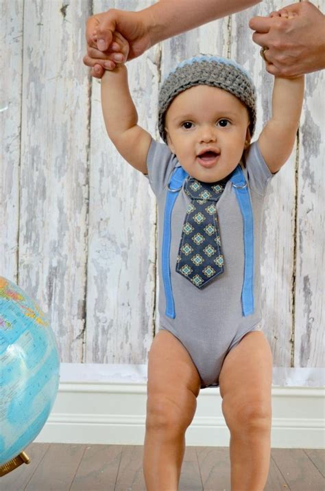 Boy Set Suspender Gapkids baby boy birthday gift set tie onesie or shirt suspenders with crocheted hat photo prop